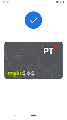 Google Pay screen showing a myki card successfully added