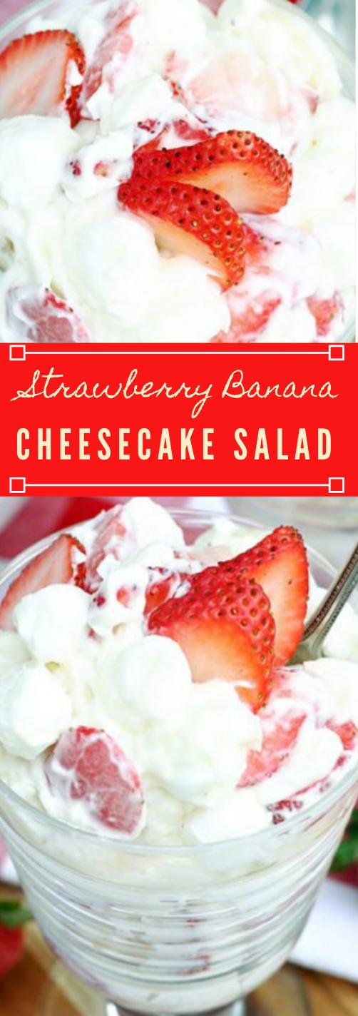 Strawberry Banana Cheesecake Salad #desserts #cakes #healthyrecipes #familyfood #banana