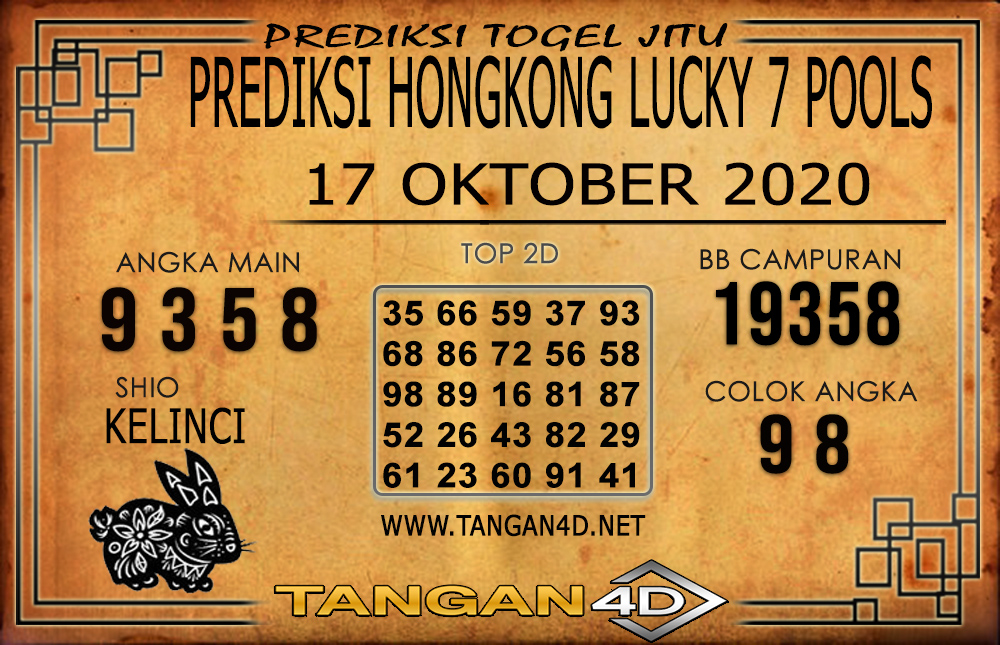 PREDIKSI TOGEL HONGKONG LUCKY 7 TANGAN4D 17 OKTOBER 2020