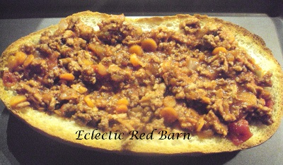 Eclectic Red Barn: Italian Bread filled with meat sauce
