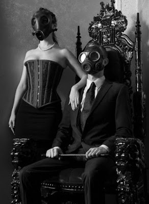 Regal couple in gas masks