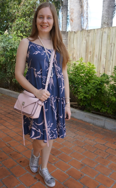 Kmart strappy tiered sundress in watercolour blue and blush print with silver sneakers pastel pink bag | awayfromblue