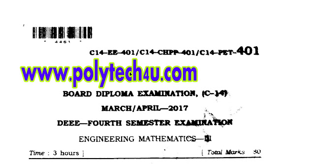 DEEE C-14 MATHEMATICS-4 OLD QUESTION PAPER