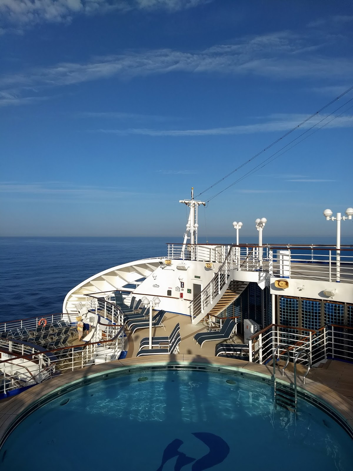 Blue sky, ocean and pool from the Sapphire Princess cruise ship.