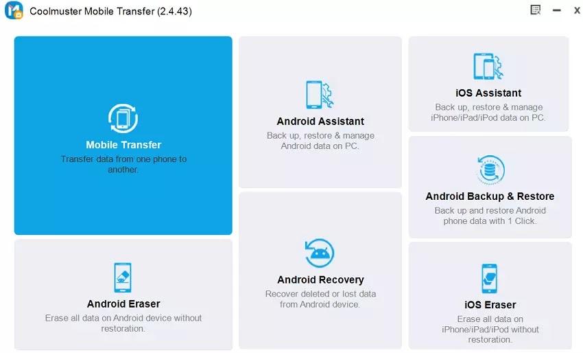 Coolmuster Mobile Transfer Başlangıç Sayfası
