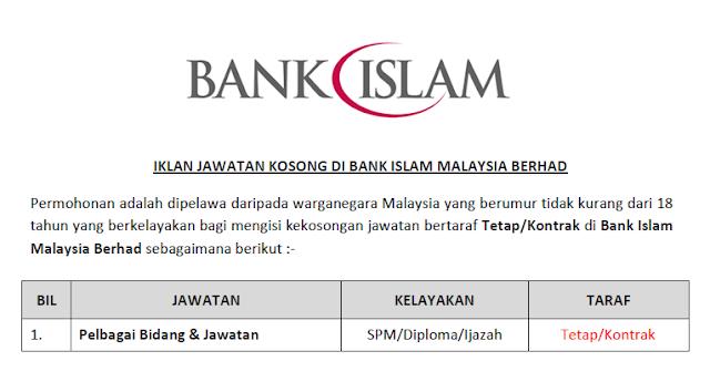 jawatan kosong bank islam malaysia