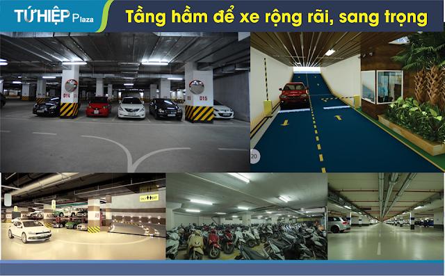 Tầng hầm để xe rộng rãi, hiện đại là ưu điểm lớn không thể bỏ qua