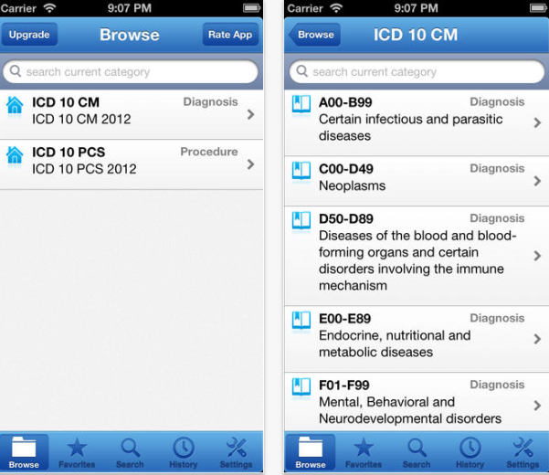 ICD-10 Lite App for iPhone and Android