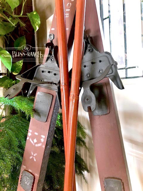 Painted Stenciled Ski Winter Decoration Bliss-Ranch.com