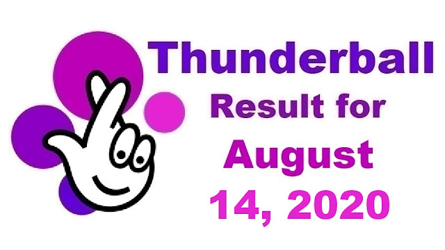 Thunderball Results for Friday, August 14, 2020