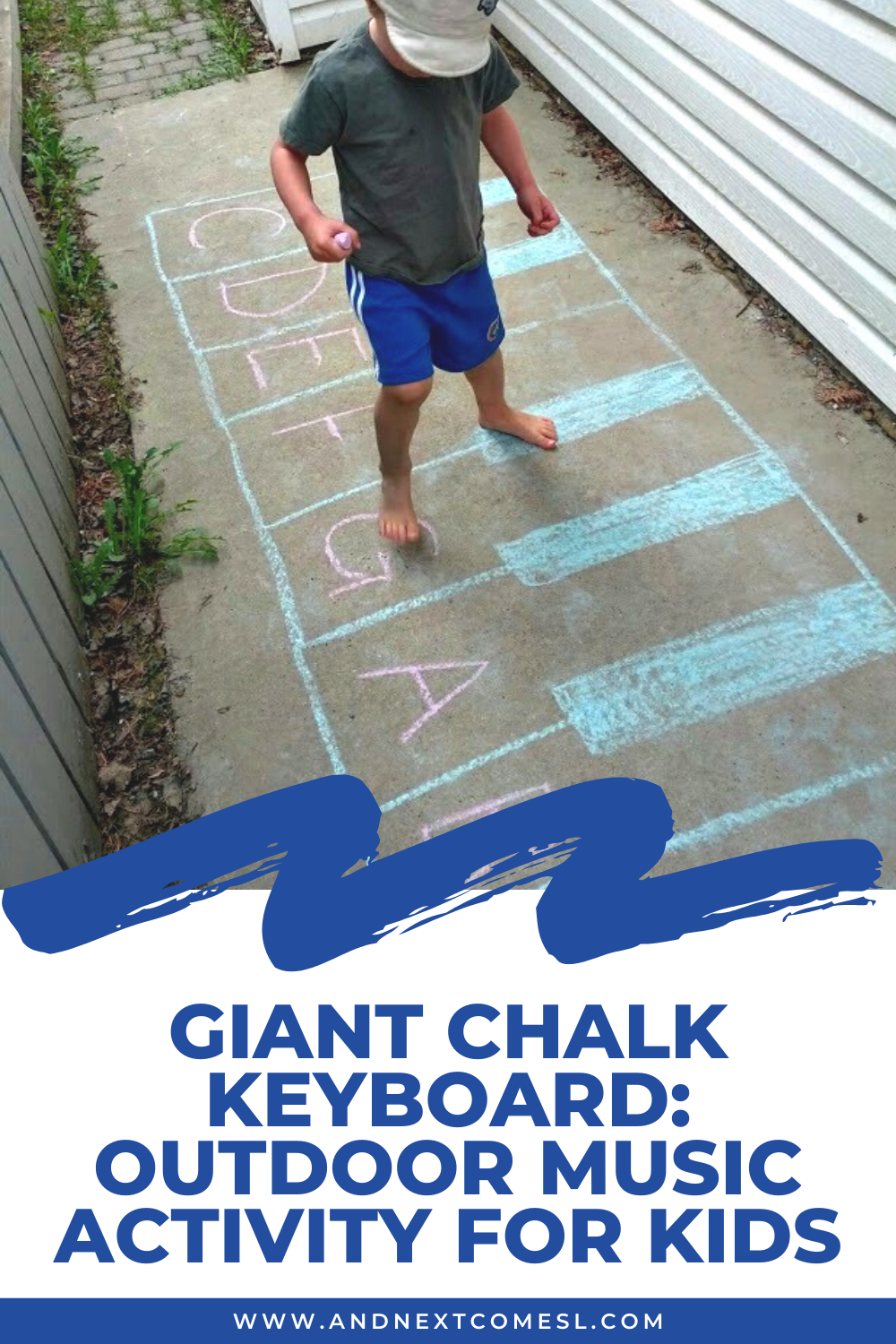 This giant chalk keyboard outdoor music activity for kids is a great music and movement activity for toddlers and preschoolers and a great way to work on music theory concepts with older kids