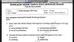 Soal Ulangan Semester 2 Kelas 3 Tema 7 Perkembangan Teknologi