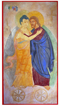 The Buddha meets Christ in embrace