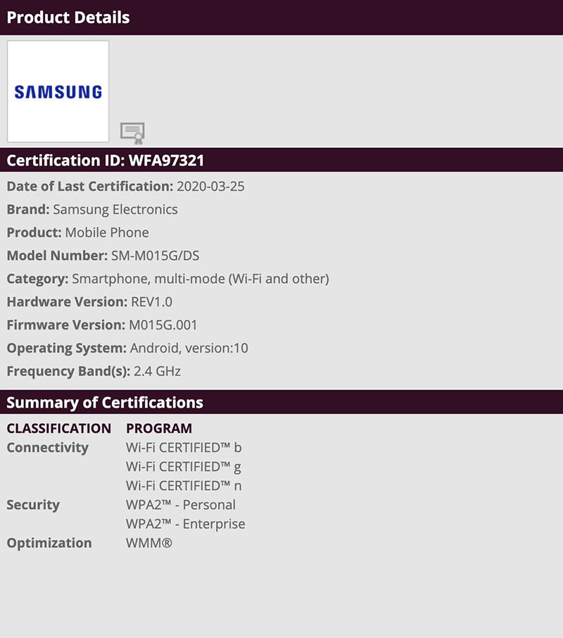 Samsung Galaxy M01 WiFi alliance certified