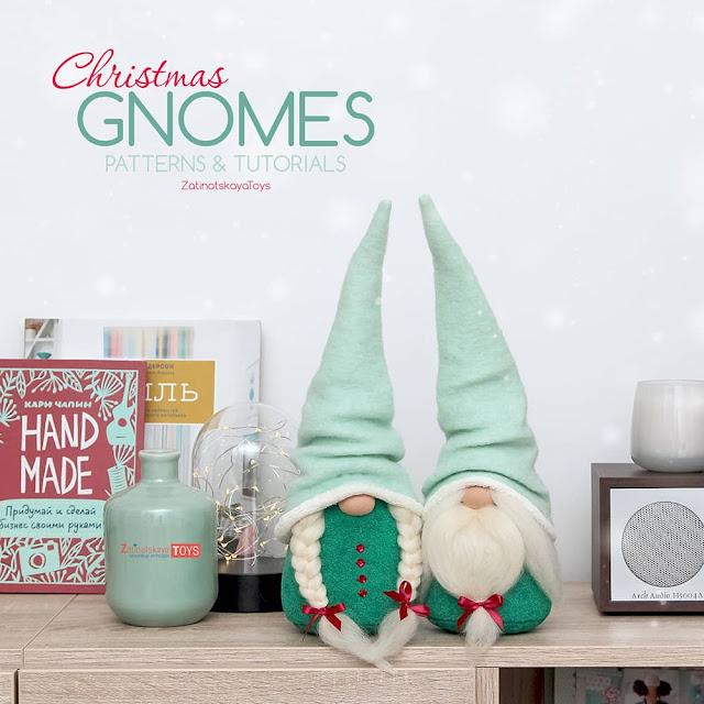 two Christmas gnomes with mint felt hats by sewing patterns of Zatinatskaya Natalia