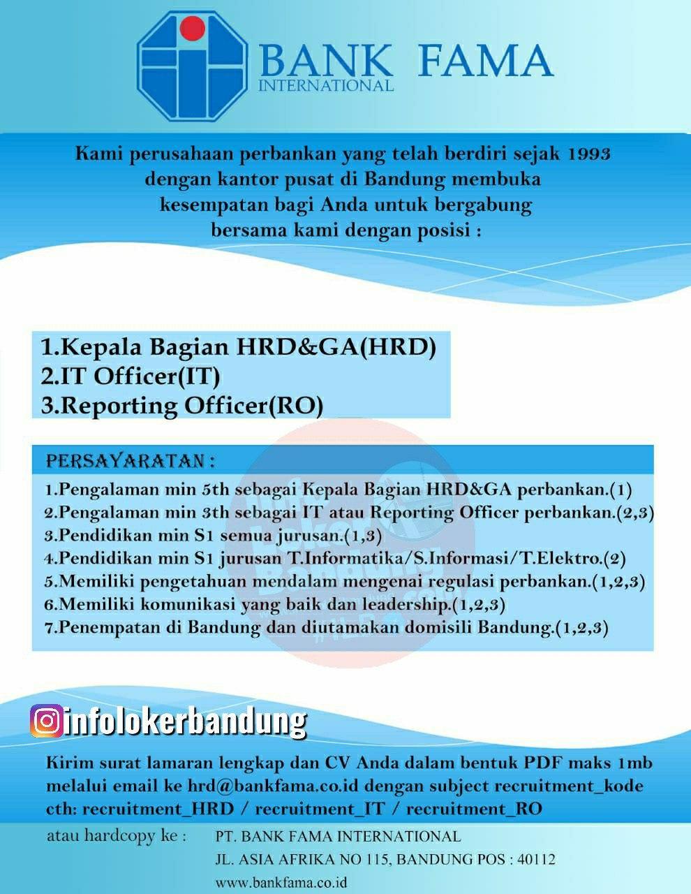 Lowongan Kerja PT. Bank Fama International Bandung Agustus 2020