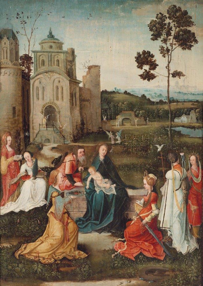 Антверпенская школа (Antwerp School), ок.1530_Обширный пейзаж с отдыхом на пути в Египет