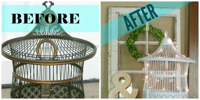 Vintage Hendryx Co. bird cage before and after collage