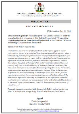 Financial Reporting Council Of Nigeria Revokes 'Rule Four'