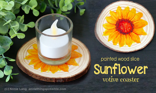 "Annie Lang's sunflower votive coaster crafted from a 3""-3.5"" unfinished wood slice for an easy seasonal decor accent"