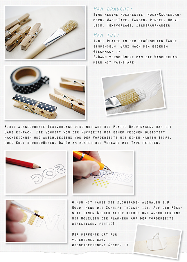 Ynas Design Blog, DIY, Missing Socks, Clipboard