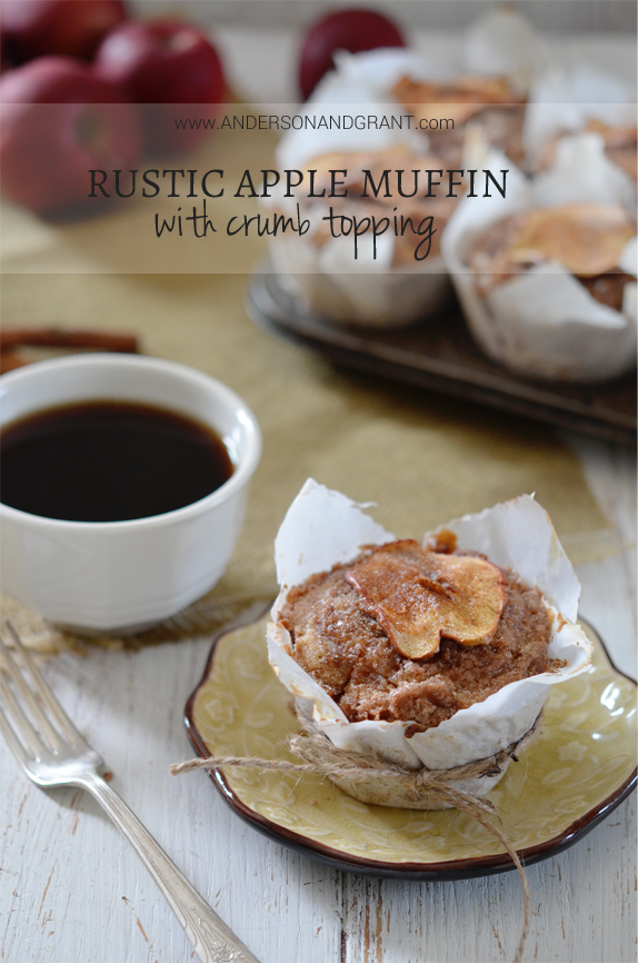 This recipe for Rustic Apple Muffins has the perfect flavors for a fabulous breakfast....or dessert....for fall! | www.andersonandgrant.com