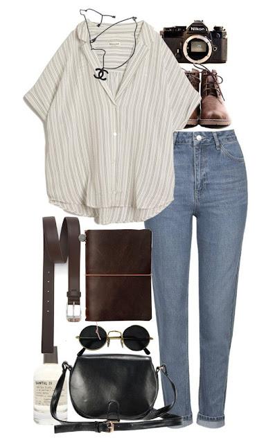 kemeja longgar tangan pendek, jeans, kamera nikon, belt kulit