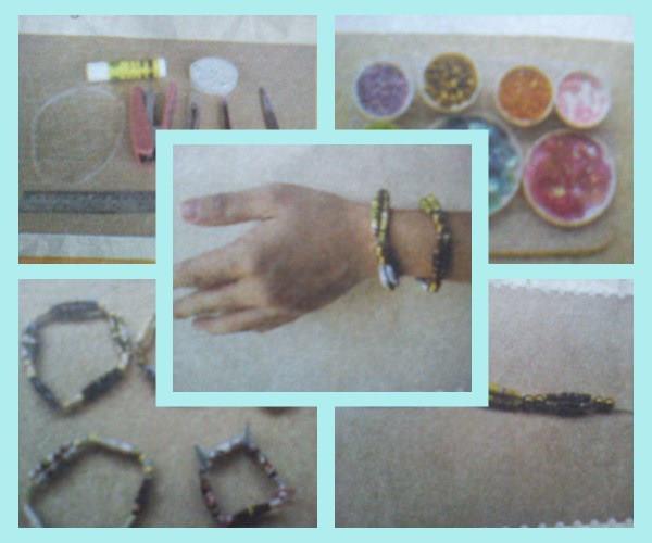 Kreasi gelang cantik dari kertas majalah bekas