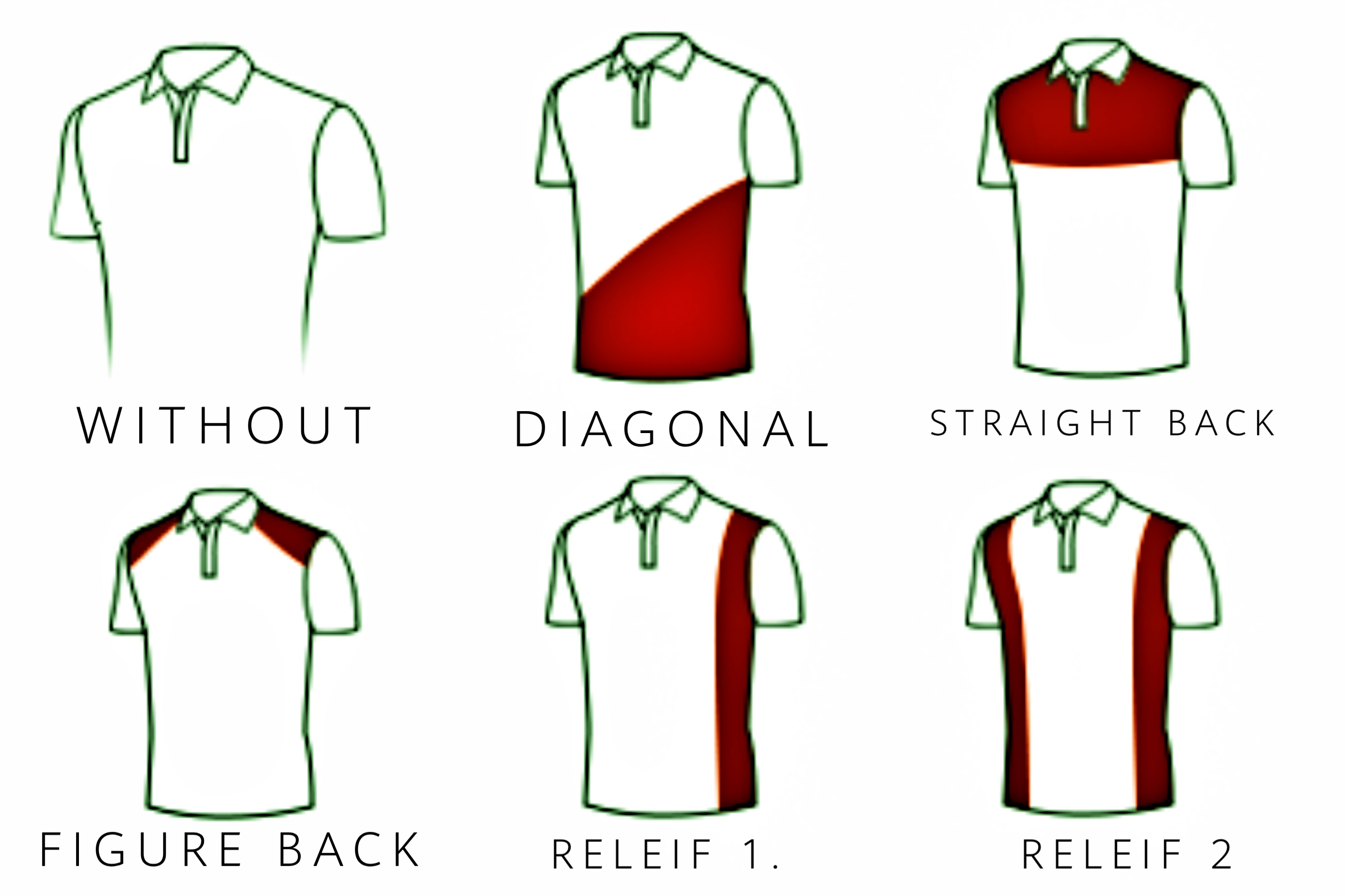 6 different Outlines of a lolo t-shirt's.