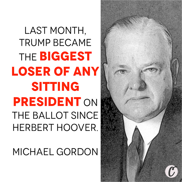 Last month, Trump became the biggest loser of any sitting president on the ballot since Herbert Hoover. — Michael Gordon, Opinion Columnist, Business Insider
