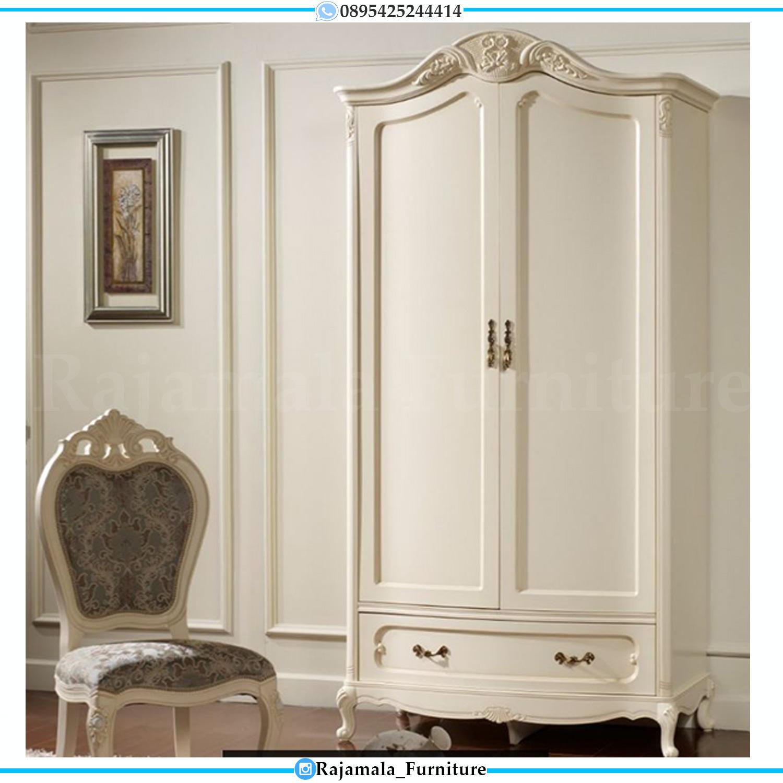 Lemari Pakaian Mewah Putih Duco Classic Luxury Furniture Jepara RM-0176