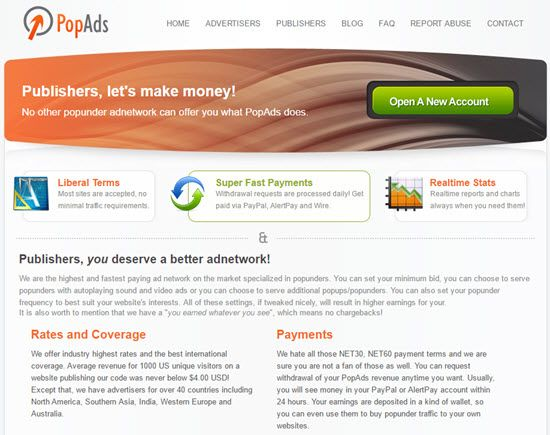 PopAds, how to earn money from PopAds