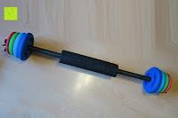Stange mit Polster: Langhantel GEPOLSTERT inkl. Federverschluss / Gewichtsvarianten 2kg 4kg 6kg 8kg 10kg 12kg 14kg 18kg 20kg in unterschiedlichen Farben