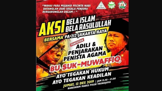 FPI Akan Demo di Bareskrim, Tuntut Sukmawati dan Muwafiq Ditangkap