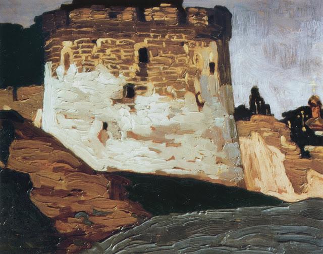 Николай Рерих - Монастырские стены и башни Печоры. 1903