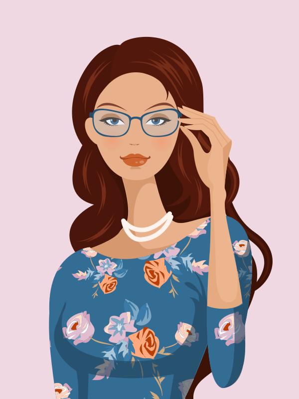 Chica joven elegante y con clase, va con gafas y vestido estampado azul