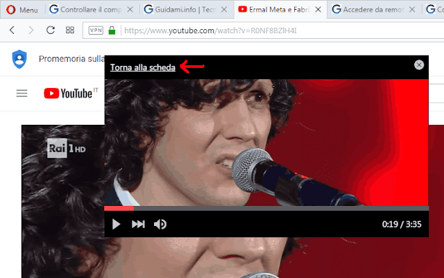 Opzione Torna alla scheda video pop-out Opera browser