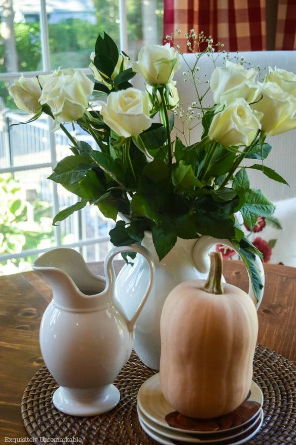 Butternut Squash and roses In Kitchen For Fall