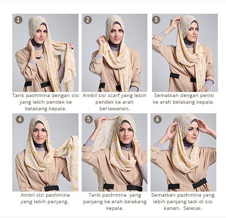 contoh tutorial hijab scarf segi empat foto tutorial hijab modern ...