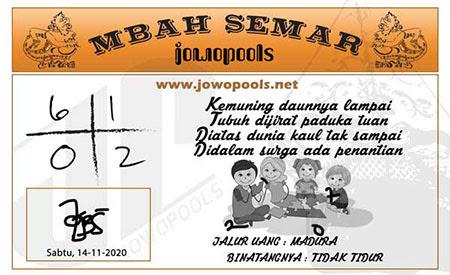Syair Mbah Semar SGP Sabtu 14 November 2020