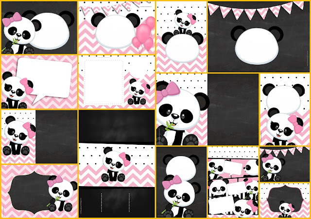 Panda Baby in Pink Chevron Free Printable Invitations.