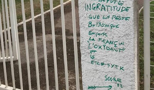 Var 83 : Un tag anti-France découvert à l'entrée du square Alexis Pariset, au Mourillon