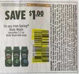 "$1.00/1 Irish spring Coupon from ""SMARTSOURCE"" insert week of 8/1/21."