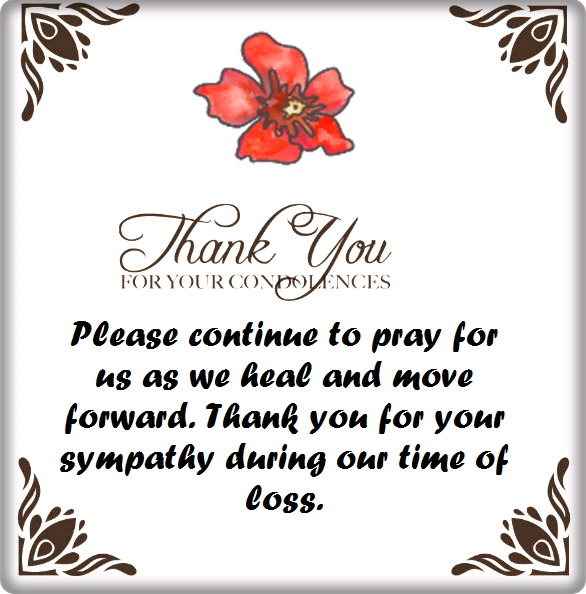 Thank you for your condolences quotes and notes thank you letters for condolence card expocarfo Image collections