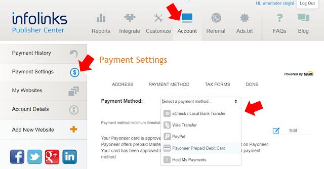 Infolinks Payment Methods