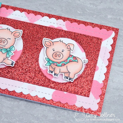 Inky Paws Challenge Color Challenge - Oink stamp and die set, Slimline Frames and Portholes die set, Bokeh Hearts stencil by Newton's Nook Designs #newtonsnook #handmade