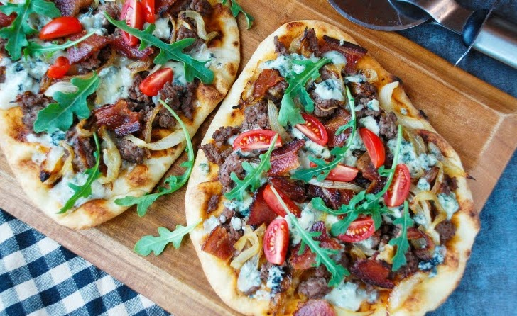 Bacon and Blue Cheeseburger Flatbread with Caramelized Onions | Photo Courtesy of Meals, Heels, and Cocktails