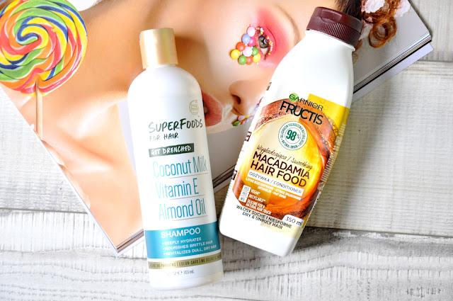 szampon Petal Fresh SuperFoods For Hair Get Drenched, odżywka do włosów Garnier Fructis Odżywka Macadamia Hair Food Włosy Suche i Niesforne