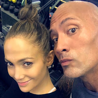 Jennifer Lopez and the Rock Dwayne Johnson gym selfie