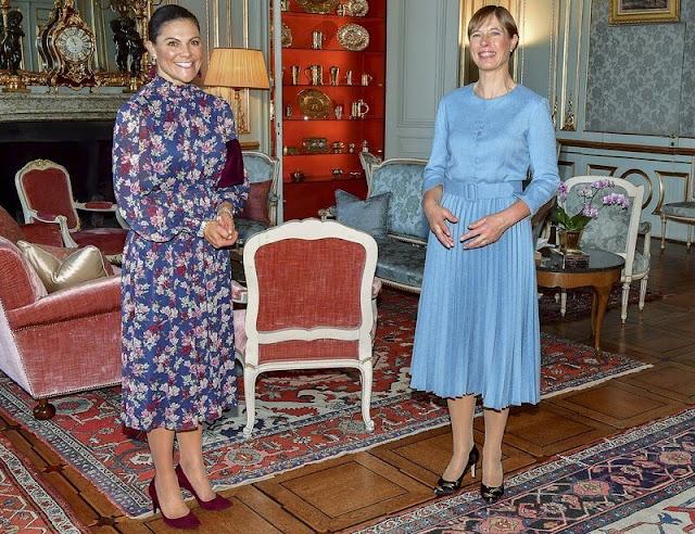 Crown Princess Victoria wore a new Sadie floral print midi dress from By Malina. Oscar de la Renta earrings
